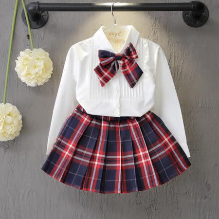 童裝 秋款韓版設計女童白色襯衫+經典百格裙二件式套裝