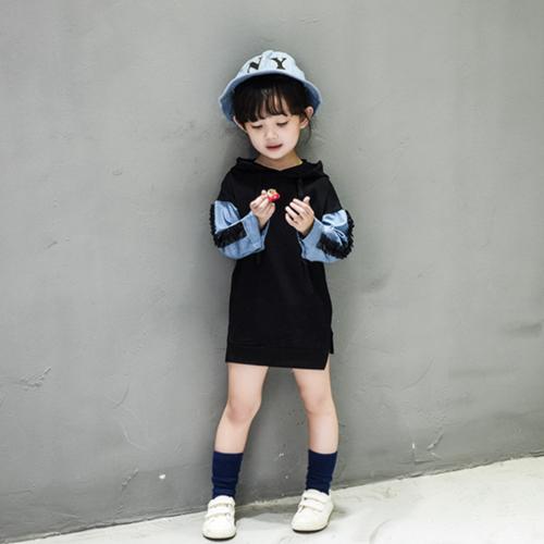 童裝 秋款韓版設計女童雙色拼接連帽連身裙