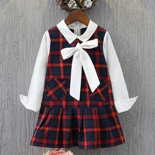 童裝 秋款韓版設計女童經典百格裙套裝