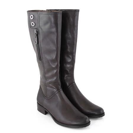 【GREEN PHOENIX】金屬釘扣裝飾拉鍊臘感牛皮細絨毛平底長靴