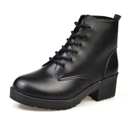 【DearBaby】經典學院風 時尚綁帶圓頭粗跟軍靴-黑色(預購)
