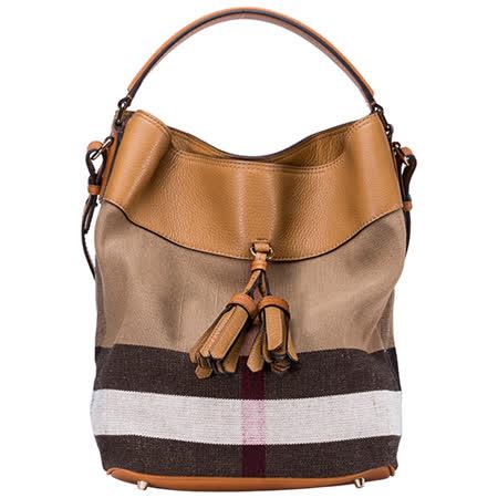BURBERRY THE ASHBY CANYAS 流蘇格紋皮革中款水桶包(棕色)