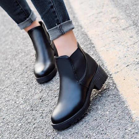 【DearBaby】簡約時尚風 側邊造型圓頭短靴-黑色(預購)
