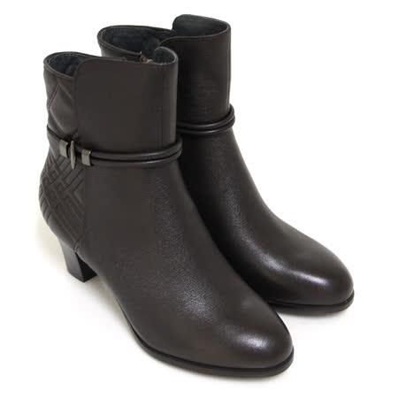 【GREEN PHOENIX】大方格紋繞踝金屬皮扣全真皮粗中跟短靴