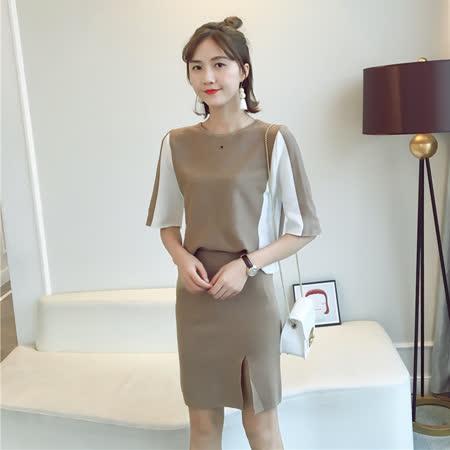 【DearBaby】韓版氣質顯瘦 雙色質感開叉短裙二件式套裝組-共三色(預購)