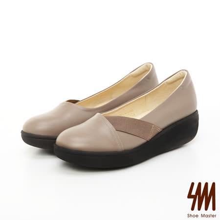 【私心大推】gohappy【SM】台灣製全真皮-素面斜帶楔型休閒樂福鞋-卡其色去哪買新竹 遠 百