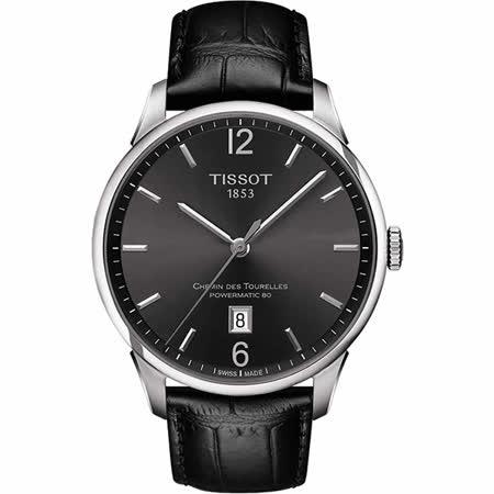 TISSOT 杜魯爾系列機械動力80腕錶-槍灰x黑/42mm T0994071644700