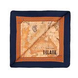 Alviero Martini 義大利地圖包 經典地圖車線絲巾(50X50)-深藍/地圖黃