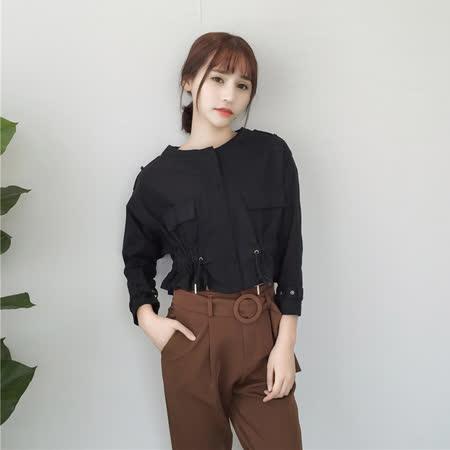 【DearBaby】韓版個性風 仿軍裝收腰短版拉鍊外套-共二色(預購)