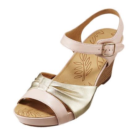【Kimo德國手工氣墊鞋】金屬質感羊皮楔型鞋(氣質粉K16SF074067)