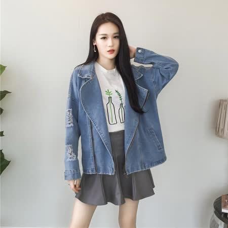 【DearBaby】韓版個性帥氣女孩 大翻領刷破牛仔寬版外套-共二色(預購)