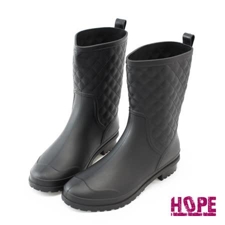 【HOPE】時尚菱格紋經典雨靴–黑(K168AF3003)