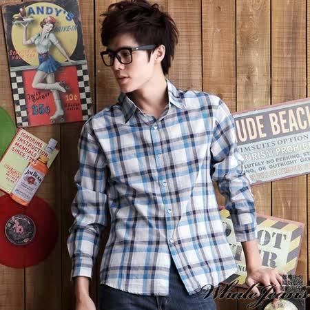 男款韓風潮彩色格紋窄版長袖襯衫-2色_藍