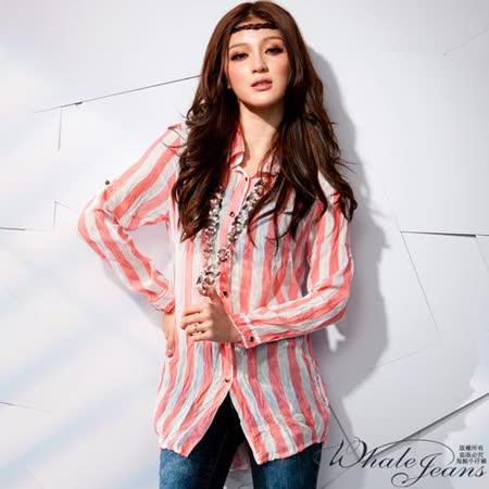 韓風直條時尚雪紡襯衫-2色_粉