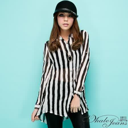 韓風直條時尚雪紡襯衫-2色_黑