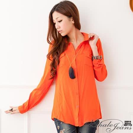 簡約風采口袋棉質長袖襯衫-2色_橘