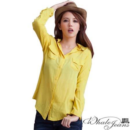 簡約風采口袋棉質長袖襯衫-2色_黃