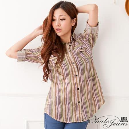 俐落雙口袋直條紋襯衫-2色_紫