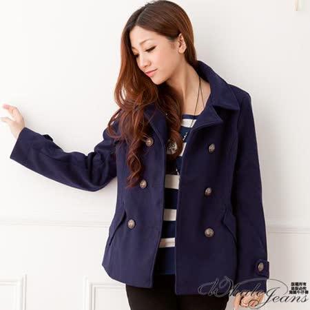 流行指標雙排扣毛呢外套-2色_藍
