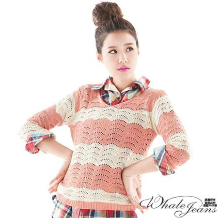 韓式娉婷款雙色條紋簍空針織衫-2色_粉