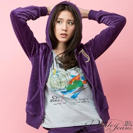 好感簡約金線圖騰天鵝絨連帽休閒外套-2色_深紫