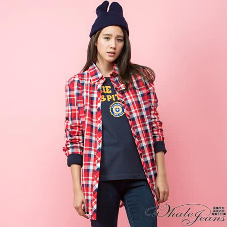 經典熱銷英倫輕甜格紋學苑長版襯衫-2色_紅