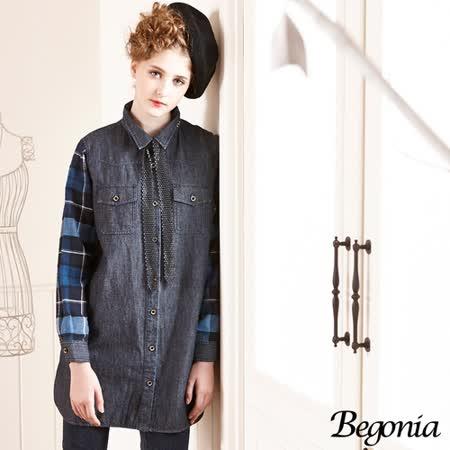 【Begonia】配色格紋拼接長版牛仔襯衫(共二色)