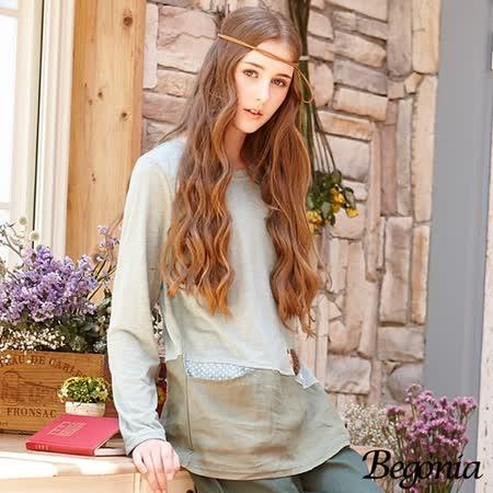 【Begonia】亞麻斜接口袋刺蝟小圖竹節棉上衣(共二色)