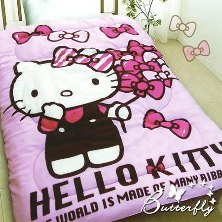 【Hello kitty】凱蒂貓 法蘭絨暖暖被 蝴蝶飄飄樂