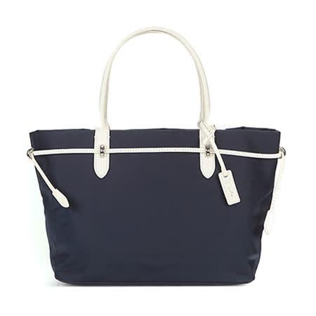 agnes b. 金屬束繩三層手提包(小/藍)