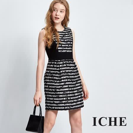 ICHE衣哲 蕾絲提花條紋拼接洋裝