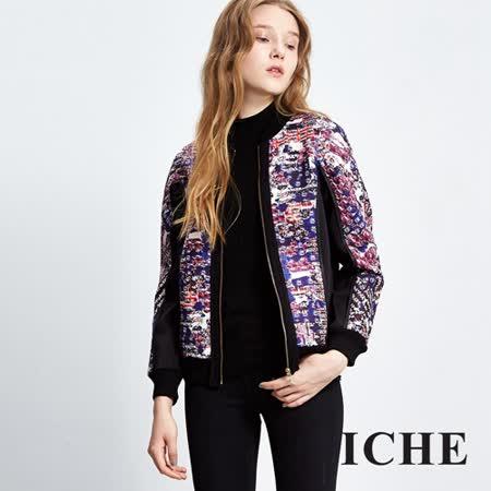 ICHE衣哲 繽紛印花拼接夾克外套