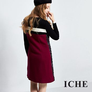 ICHE衣哲 菱格印花拼接針織洋裝