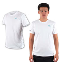 (男) MIZUNO 限量2016大阪馬拉松路跑短袖T恤-慢跑 美津濃 白湖水綠