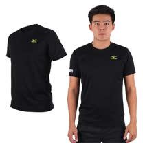 (男) MIZUNO 限量2016大阪馬拉松路跑短袖T恤-慢跑 美津濃 黑芥末綠
