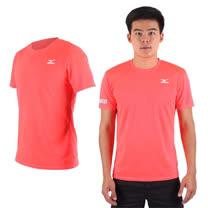 (男) MIZUNO 限量2016大阪馬拉松路跑短袖T恤-慢跑 美津濃 螢光粉