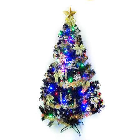 台灣製造4呎/4尺(120cm)時尚豪華版黑色聖誕樹(+金銀色系配件組+100燈LED燈1串)(附跳機控制器)