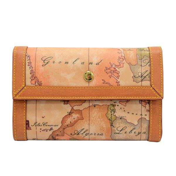 Alviero Martini 義大利地圖包 扣式8卡拉鍊零錢中短夾~地圖黃