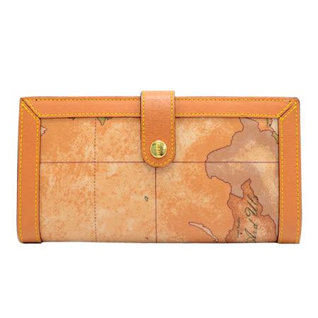 Alviero Martini 義大利地圖包 女用-扣式8卡零錢長夾-地圖黃