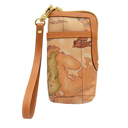 Alviero Martini 義大利地圖包 多功能手機袋/零錢包-地圖黃