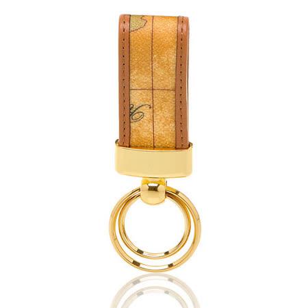 Alviero Martini 義大利地圖包 皮革雙環 鑰匙圈-地圖黃