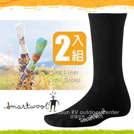 【美國 SmartWool】美國製造 美麗諾羊毛 Hike Liner 輕量中高筒登山健行羊毛裡襪 SW114 黑(2雙入)