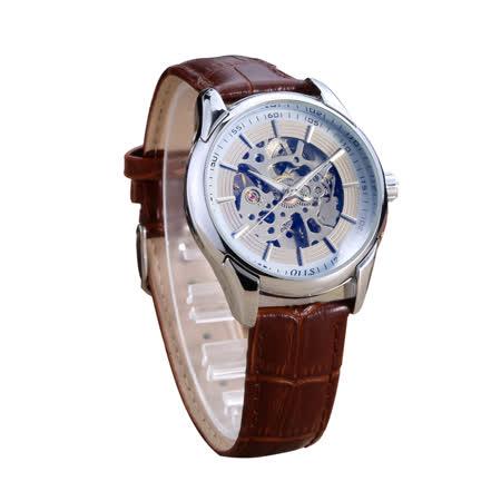 時尚男士簍空機械防水手錶-銀邊白面皮帶款