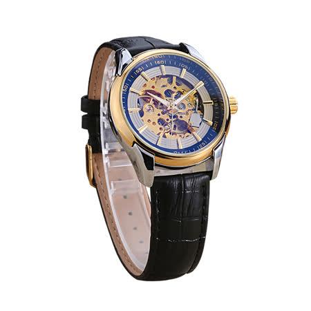 時尚男士簍空機械防水手錶-金邊黑面皮帶款
