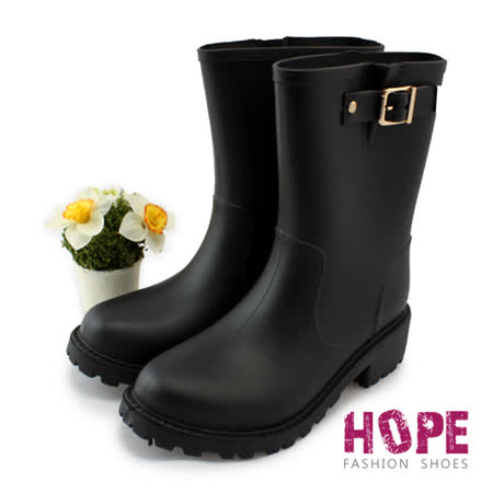 【HOPE】質感金屬釦環中筒雨靴-黑【K168CE9022】