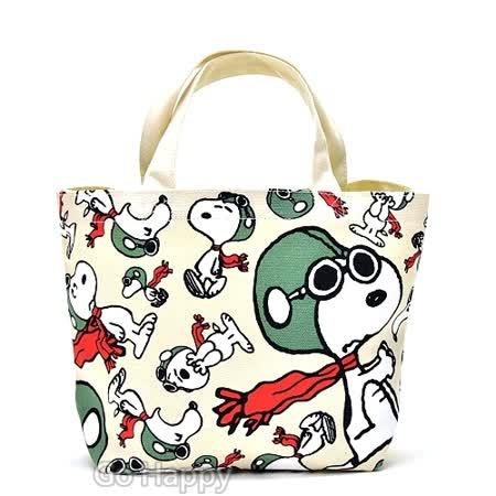 日本進口Snoopy【飛翔天空】帆布手提包