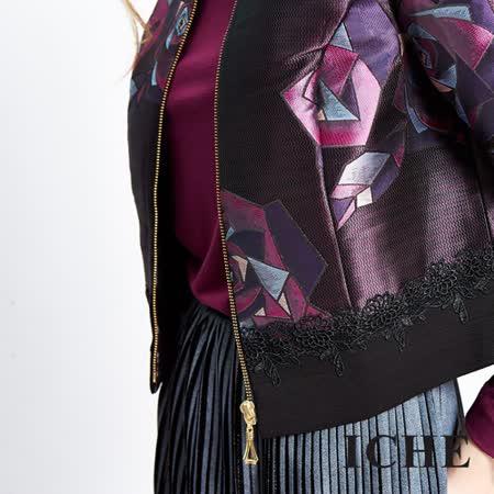 ICHE衣哲 幾何感玫瑰提花蕾絲短版外套