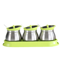 PUSH!餐具廚房用品不鏽鋼調味瓶調味罐調味盒胡椒罐鹽罐(3罐組)D86-1綠色