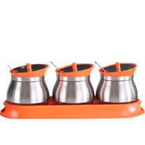 PUSH!餐具廚房用品不鏽鋼調味瓶調味罐調味盒胡椒罐鹽罐(3罐組)D86-2橙色