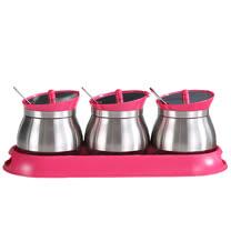 PUSH!餐具廚房用品不鏽鋼調味瓶調味罐調味盒胡椒罐鹽罐(3罐組)D86-3玫紅色